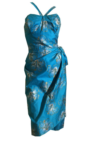 Turquoise and Gold Hibiscus Screen Print Hawaiian Sarong Wrap Dress circa 1950s