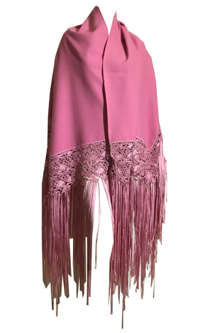 Rose Pink Creped Wool Shawl with Elegant Long Silk Fringe Trim circa 1970s