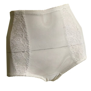 Spandex Blend Sheer White Nylon High Waist Briefs Panties with Lace circa 1960s