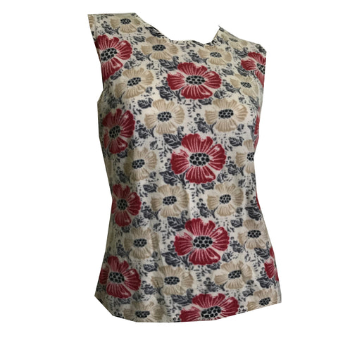 Floral Design Sleeveless Sweater Shell Top circa 1990s