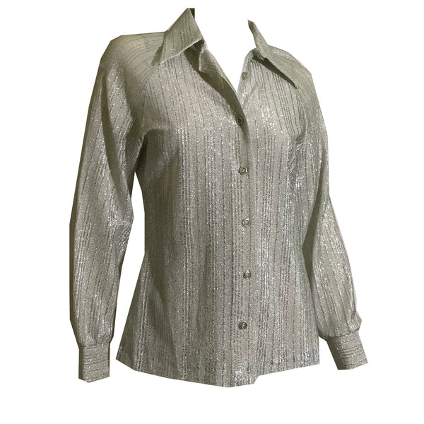 Metallic Silver Lamé Button Front Blouse circa 1970s