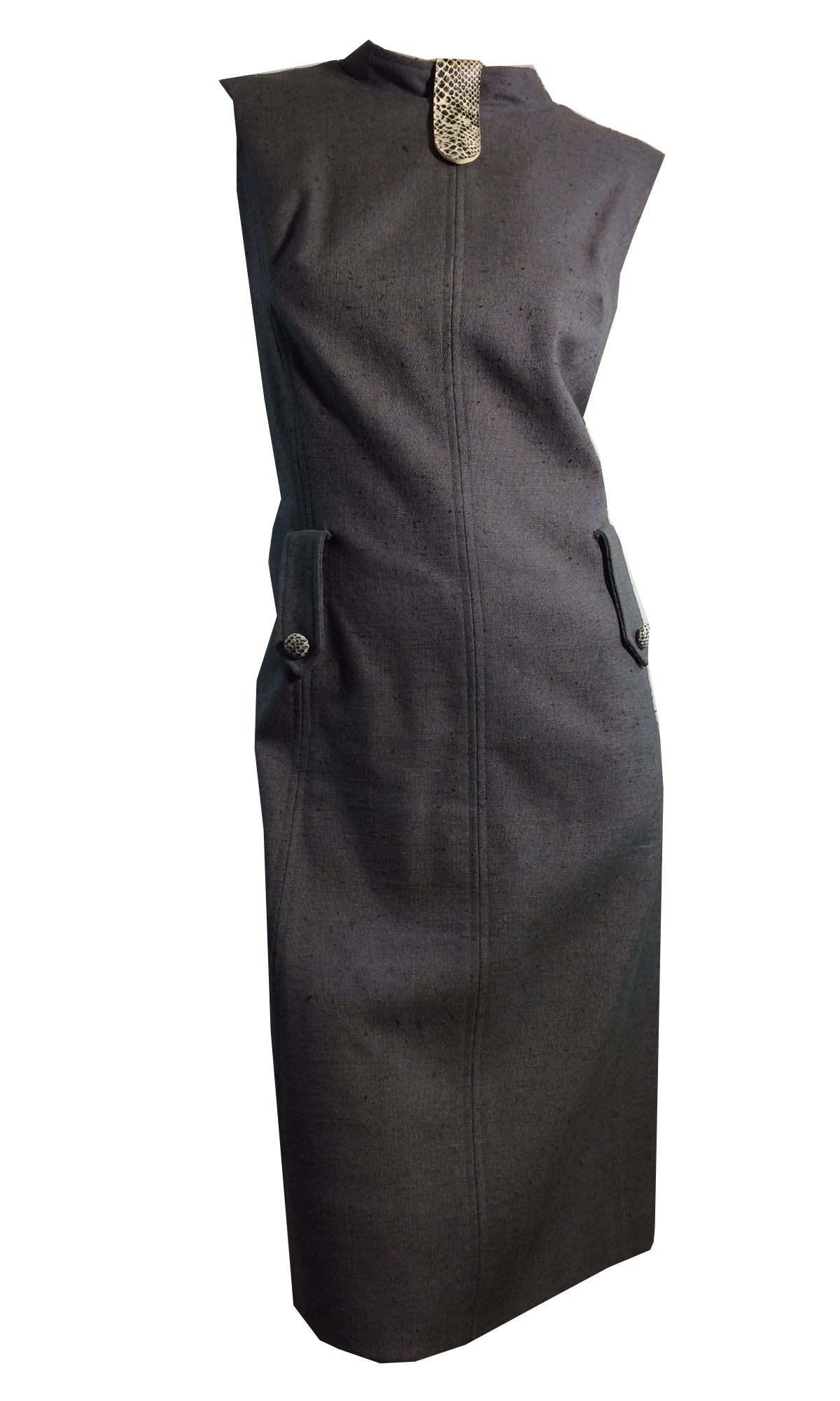 Charcoal Grey Linen Weave Rayon Sheath Dress w/ Faux Snakeskin Accents circa 1960s