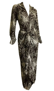 RESERVED Cocoa and White Scribble Floral Print Draped Waist Rayon Dress circa 1940s