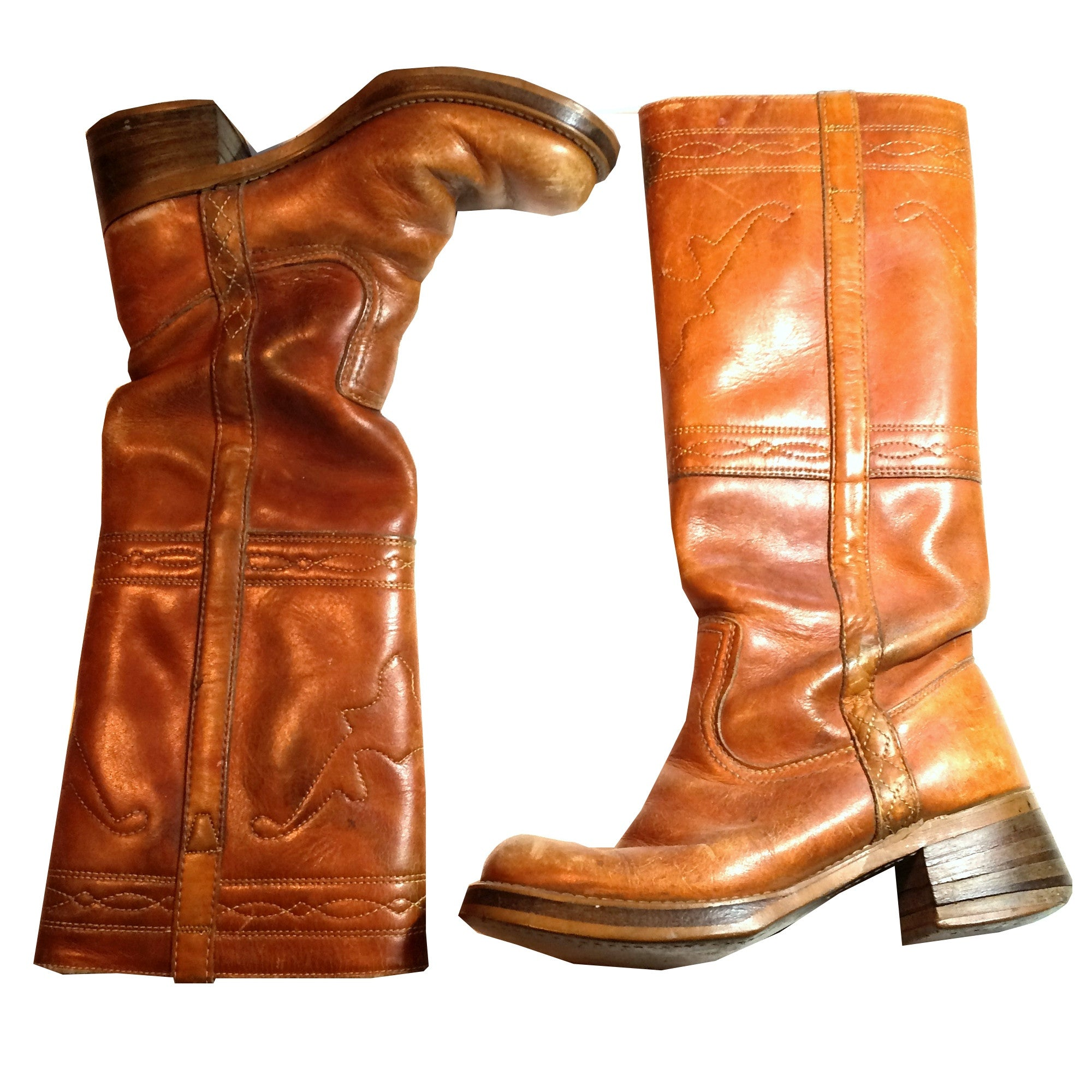 Chic Cinnamon Leather Tall Western Boots w/ Top Stitching circa 1970s Dorothea's Closet Vintage Clothing