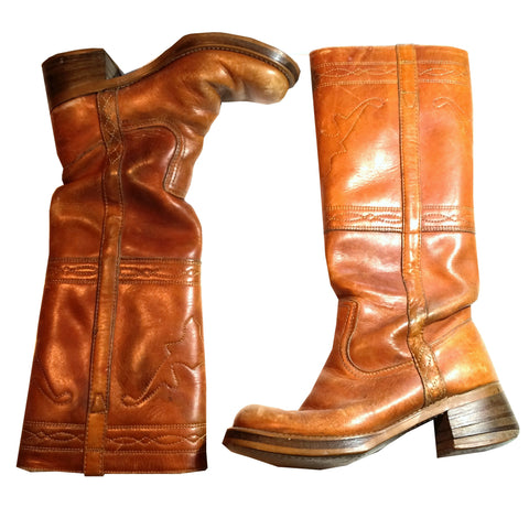Chic Cinnamon Leather Tall Western Boots w/ Top Stitching circa 1970s