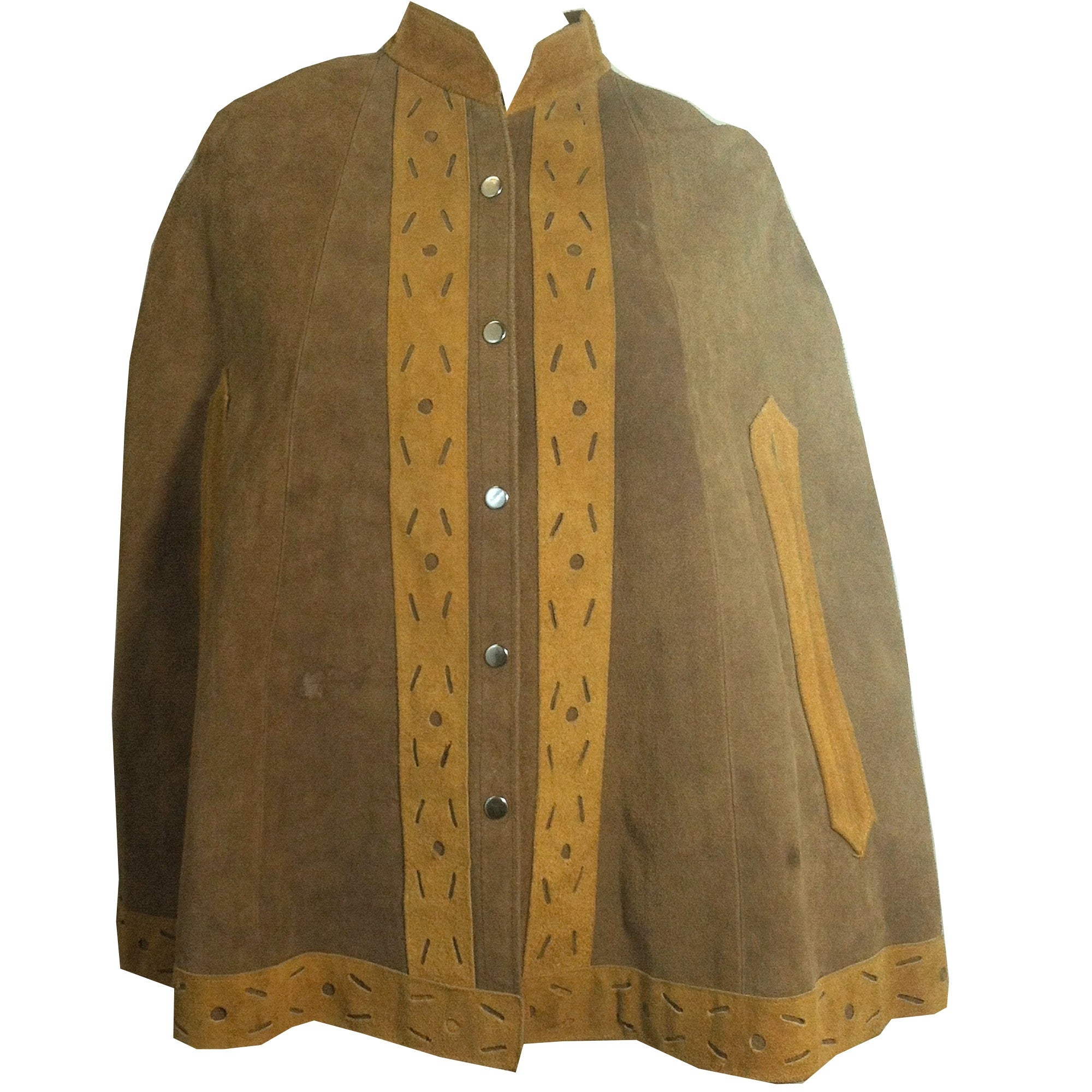 Two-Tone Tan Hippie Chic Suede Poncho circa 1970s
