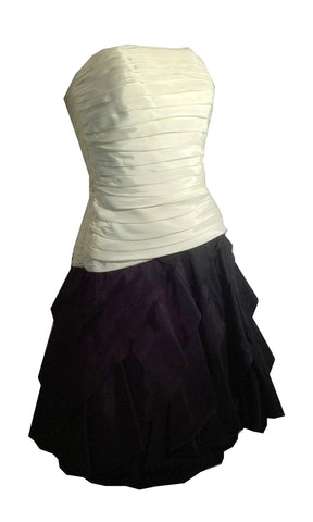 Strapless Black and White Ruched Bodice Petal Skirt Cocktail Dress circa 1980s Tadashi