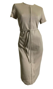 Tan Short Sleeved Poly Blend Classic Day Dress circa 1960s