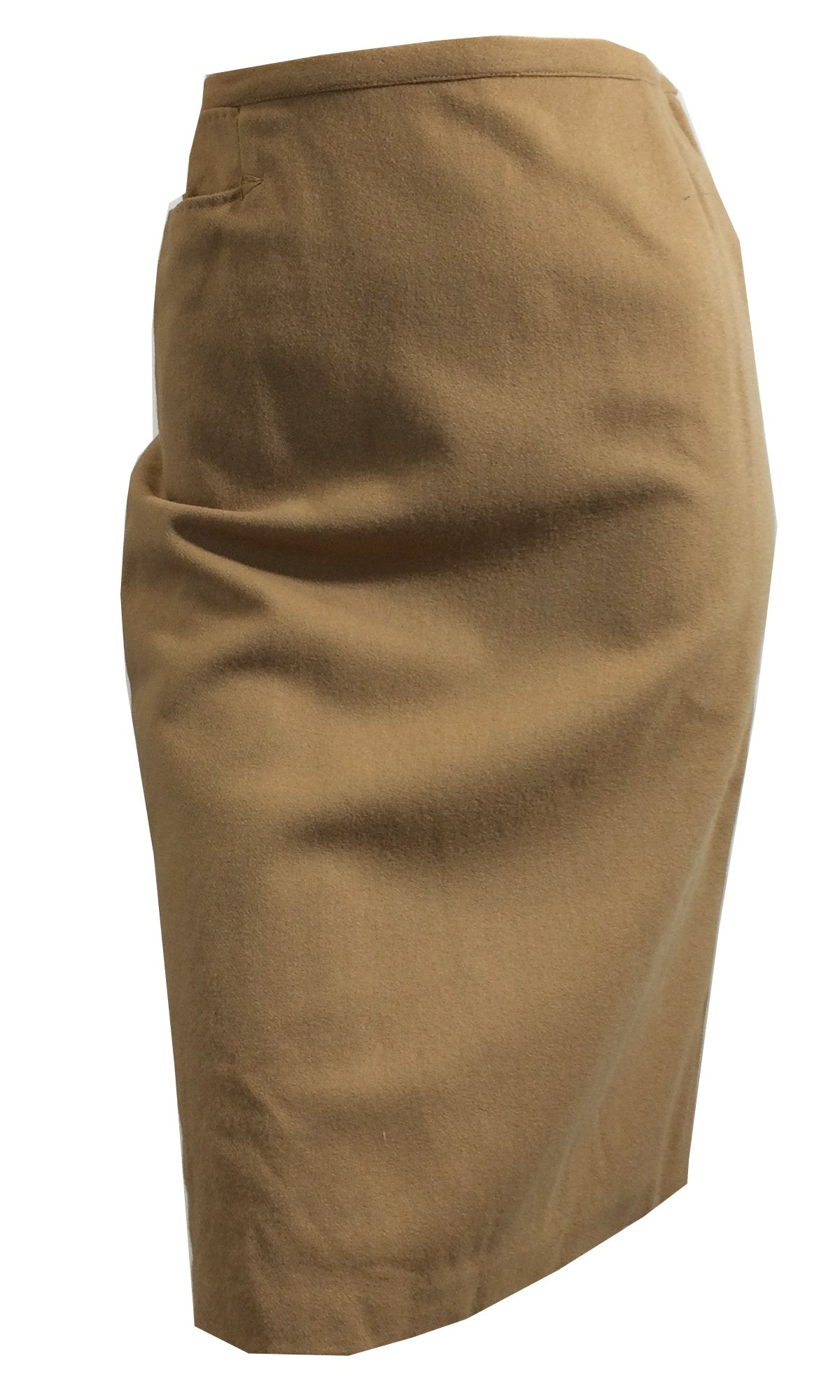 Soft Tan Chic Sleek Pencil Skirt circa 1960s Dorothea's Closet Vintage Clothing