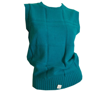 Teal Textured Knit V-Neck Sleeveless Sweater circa 1980s