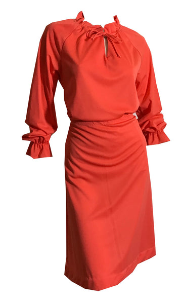 Tomato Red Nylon Jersey Blouse and Skirt Set with Ruffles circa 1970s