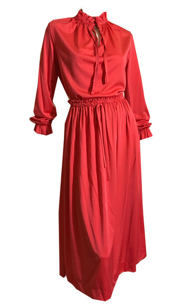 Tomato Red Nylon Jersey Blouse and Skirt Set with Cord Ties circa 1970s