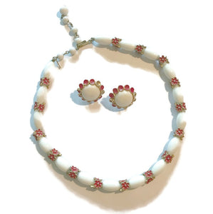 Crown Trifari White Glass and Red Enameled Gold Tone Metal Demi Parure Necklace and Earrings circa 1960s