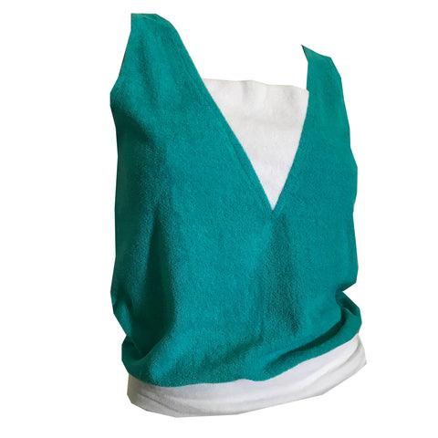 Terry Cloth Tea Green and White Tank Top Shirt circa 1970s
