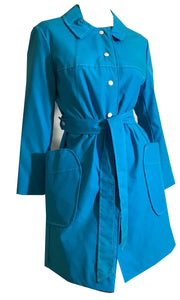 Bright Blue Poplin Belted Button Front Spring Coat circa 1970s