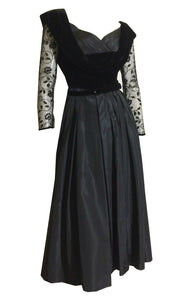 Nipped Waist Black Taffeta and Velvet Full Skirt Cocktail Dress circa 1950s