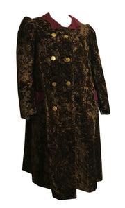 Deep Chocolate Brown Crushed Cotton Velvet Coat circa 1890s