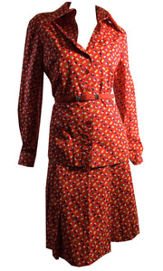 Red Multicolor Polka Dot Rayon 2 Pc Dress Set circa 1970s Victor Costa