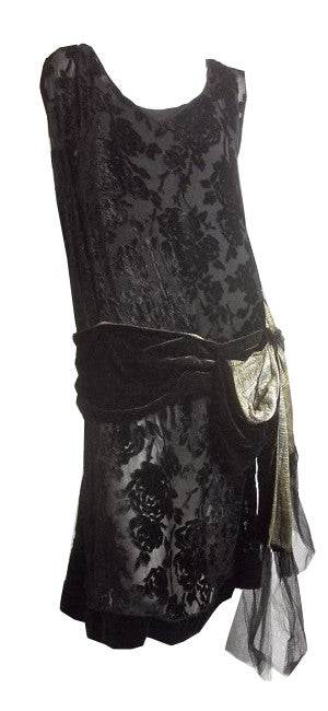 Briliant Metallic Gold Sash Trimmed Black Voided Velvet Dress  circa 1920s