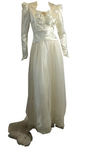 Glamorous Slipper Satin Wedding Gown w/ Wax Flowers circa 1940s