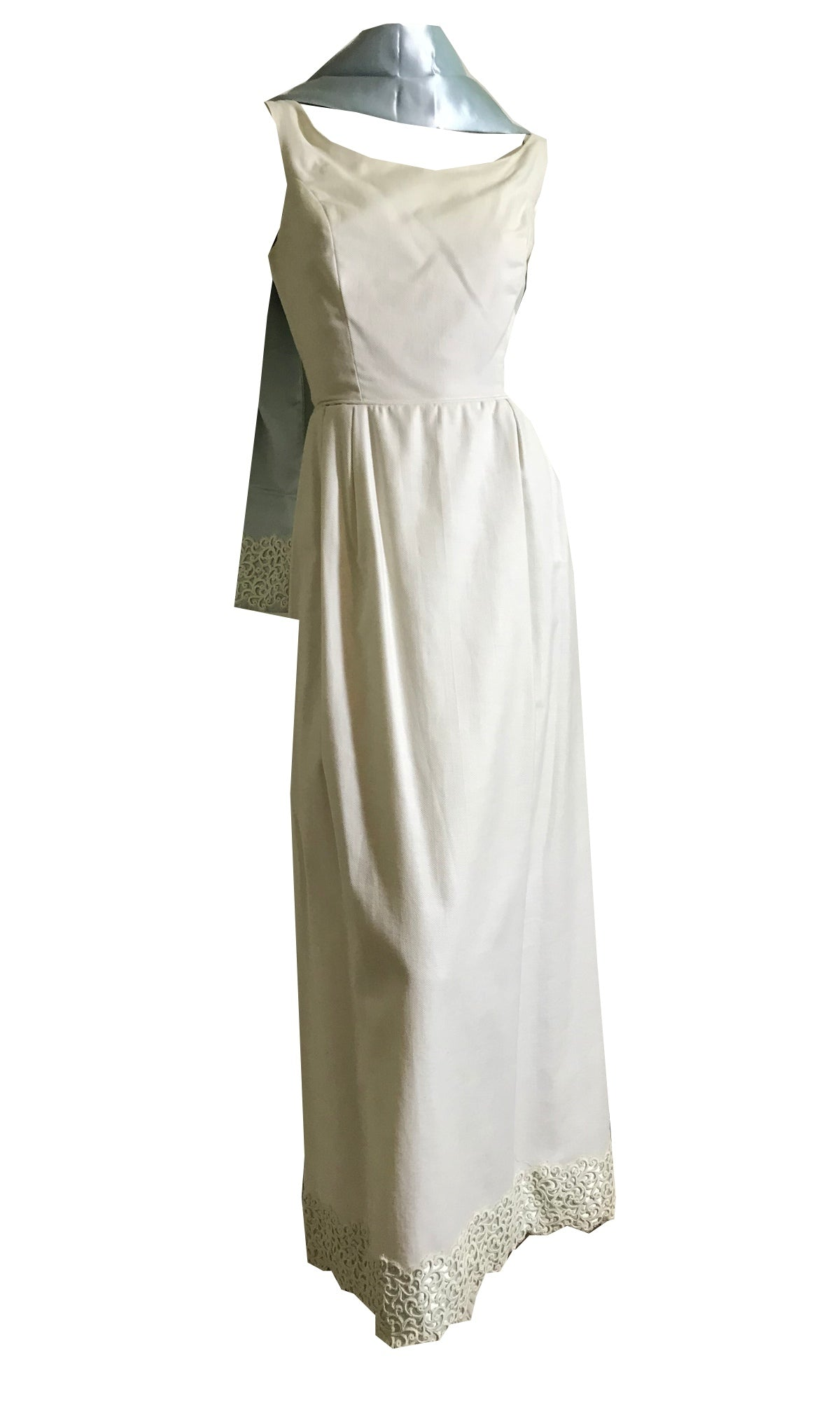 Elegant White Pique Cotton Column Dress with Blue Satin Backed Wrap circa 1960s