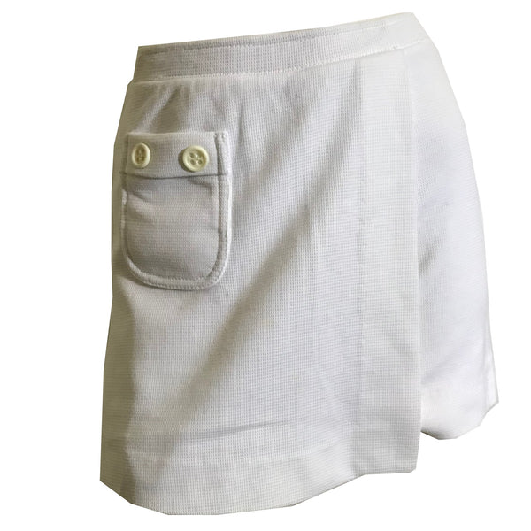 Waffle Knit White Mini Skirt Skorts Shorts circa 1970s