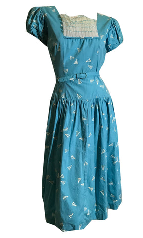 Amazing Wi-Fi (Geo) Print Turquoise Blue Cotton Full Skirt Dress with Ruffles circa 1960s