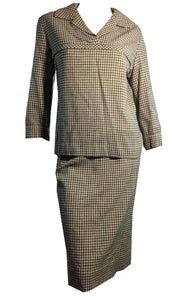 Warm Khaki and Grey Plaid Wool 2 pc Dress Set circa 1950s as is