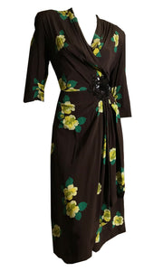 Cocoa and Yellow Floral Print Rayon Cocktail Dress with Sequined Waist Accent circa 1940s