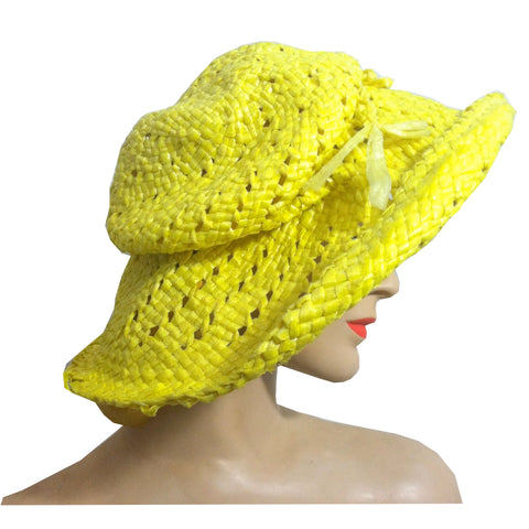 Sunshine Yellow Cello Wide Brim Floppy Hat circa 1970s