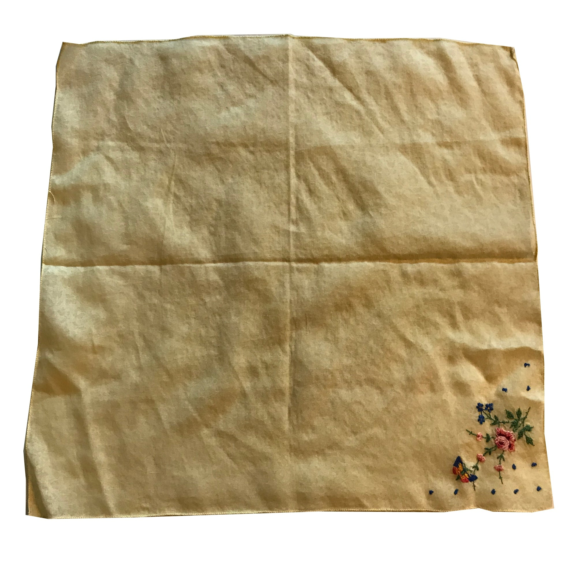 Yellow Floral Weave Handkerchief with Pastel Flower & Butterfly Embroidery circa 1950s