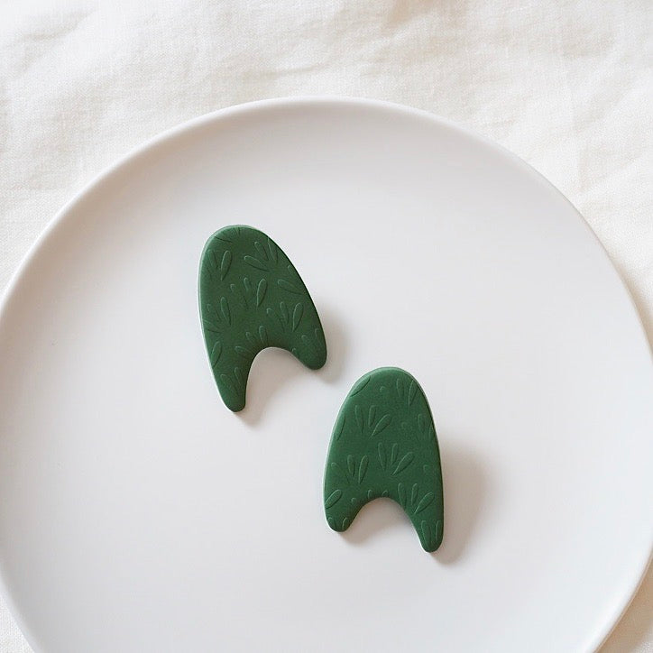 Green Abstract Arch Large Polymer Clay Stud Earrings, Pierced or Non-Pierced Clip On