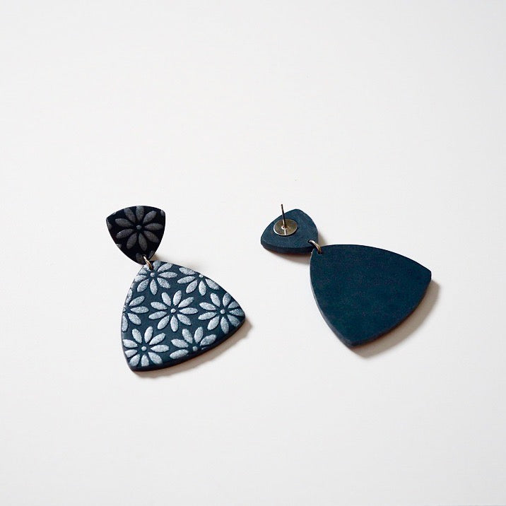 Dark Blue Polymer Clay Earrings, Pierced or Non-Pierced Clip-On Options. Handmade Blue Polymer Clay Earrings with Hand Painted Floral Design.