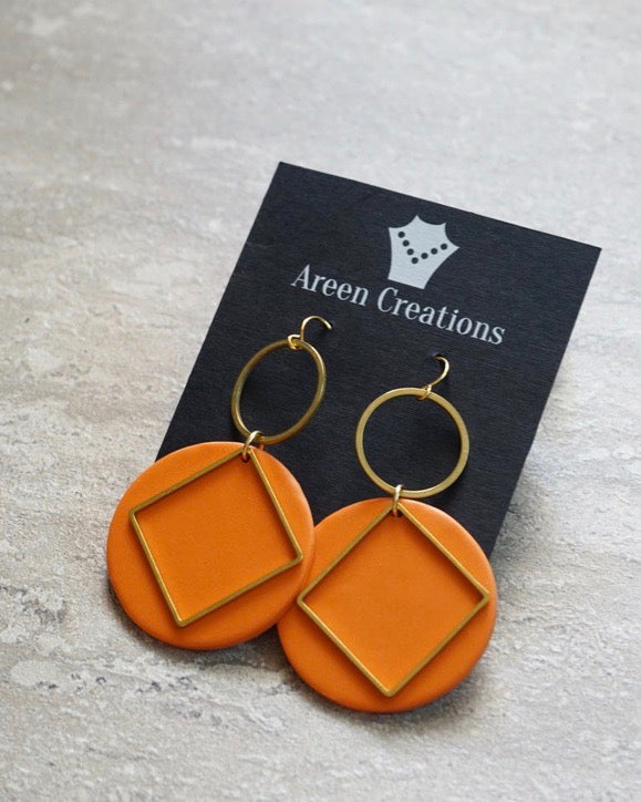 Clay Brass Geometric Earrings