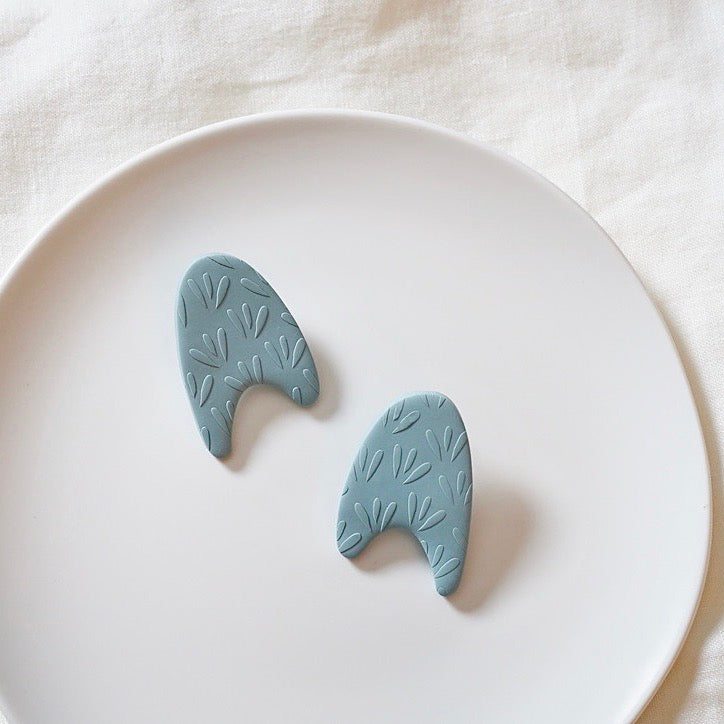 Light Blue Abstract Arch Large Polymer Clay Stud Earrings, Pierced or Non-Pierced Clip On
