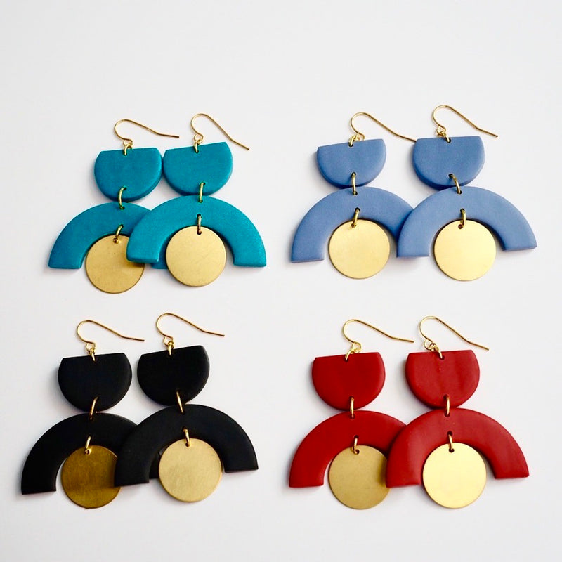 Clay Arch & Brass Earrings