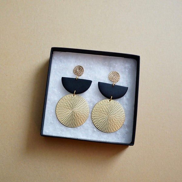Brass Circle & Polymer Clay Earrings
