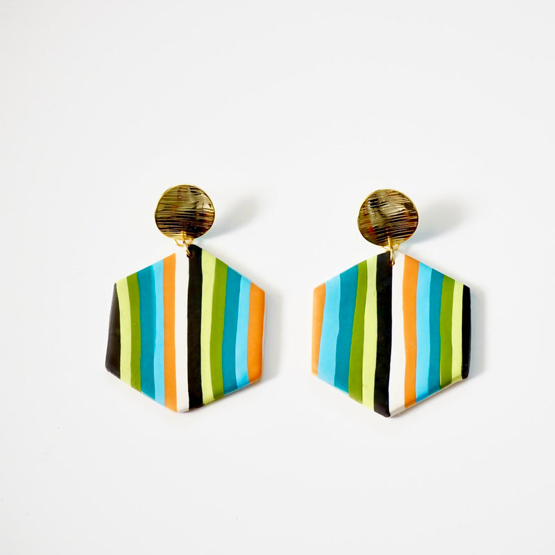 Striped Polymer Clay Earrings