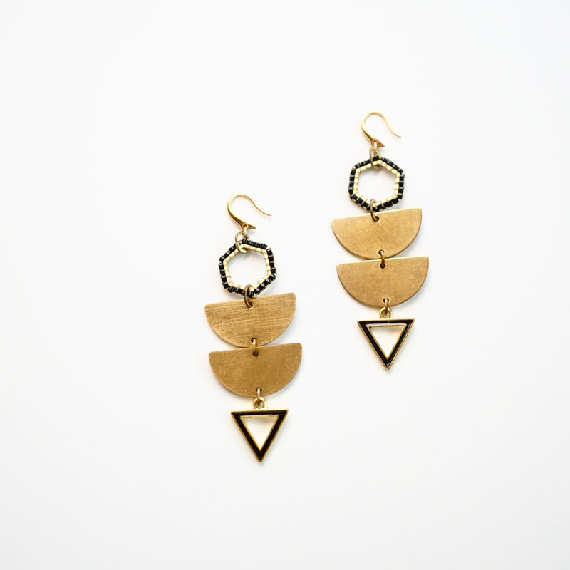 Brass Statement Earrings w/ Bead Woven Tops