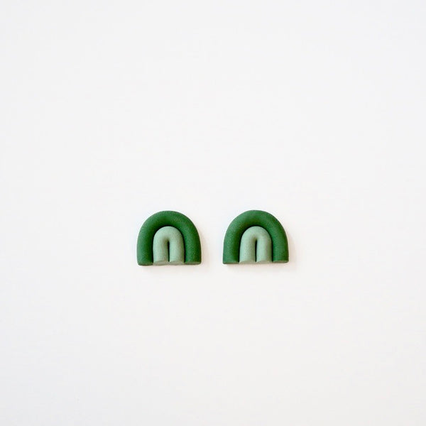 Green Arch Polymer Clay Studs