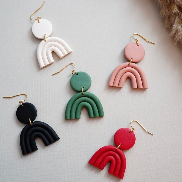 Handmade Polymer Clay Arch Statement Earrings. These clay rainbow shape earrings are stylish and trendy. Hypoallergenic gold plated ear wire.