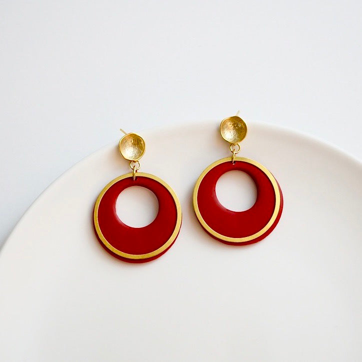 Brianna Polymer Clay Earrings, Red