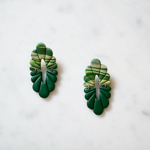 Handmade Scalloped Marble Green Polymer Clay Earrings