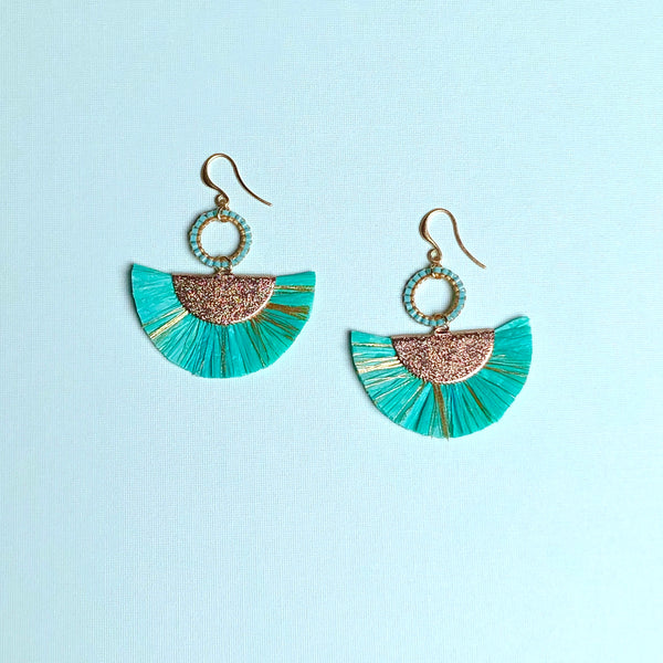 Raffia Straw Fan Earrings
