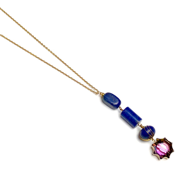 Lapis Lazuli Beaded Stone Gold Necklace