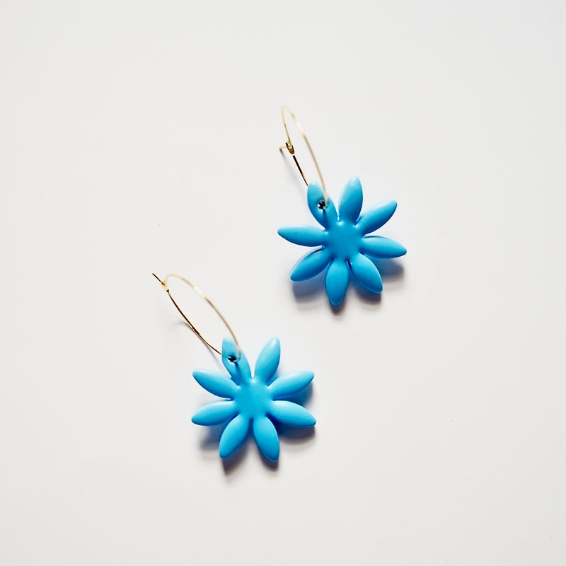 Polymer Clay Flower Hoop Earrings