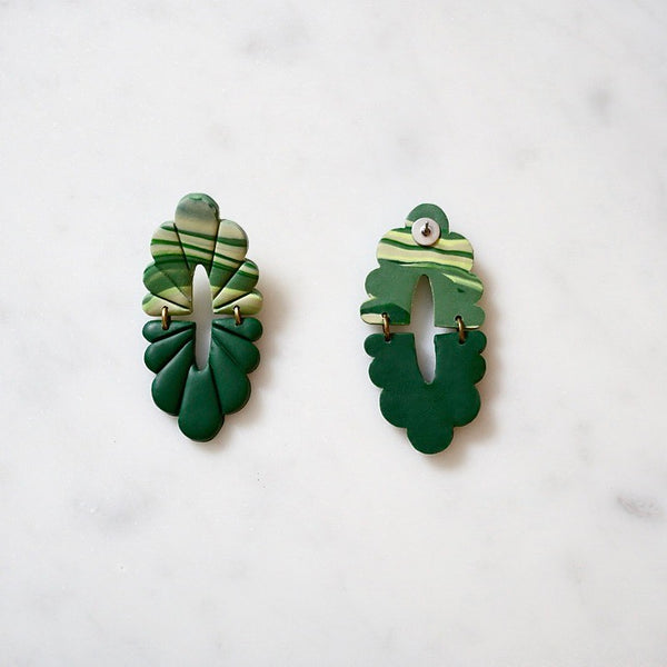 Audra Polymer Clay Earrings, Green