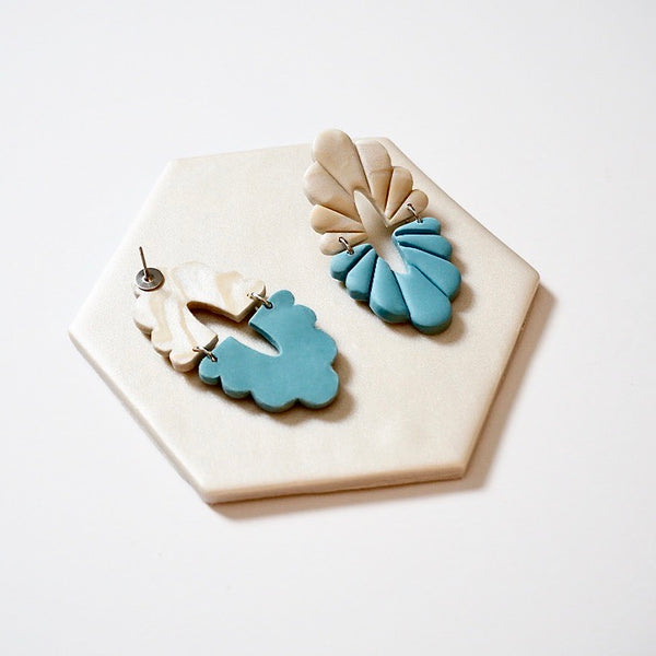 Audra Polymer Clay Earrings, Blue