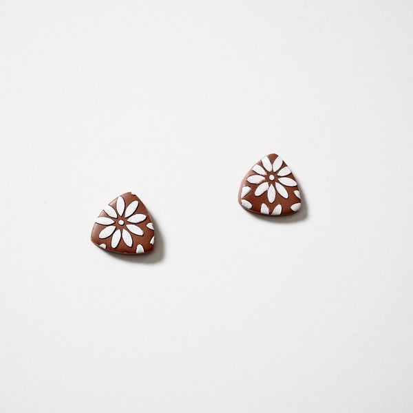 Floral Print Polymer Clay Studs, Deep Color