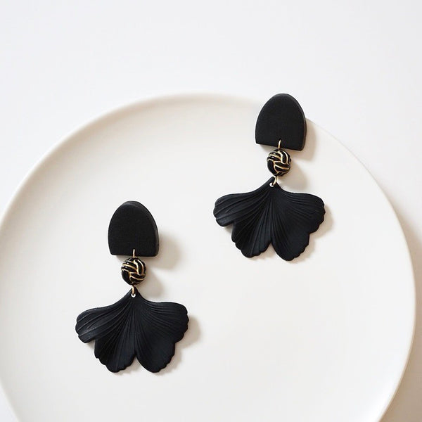 Black Polymer Clay & Leaf Earrings